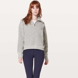 Lululemon Gray Stand Out Sherpa Half Zip Pullover